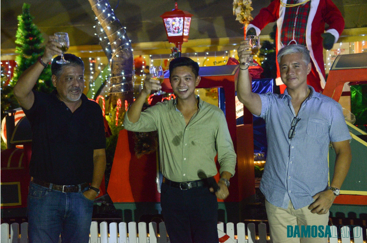 (From left) Brothers Anton, Cary and JM Lagdameo raise their glasses to celebrate the event
